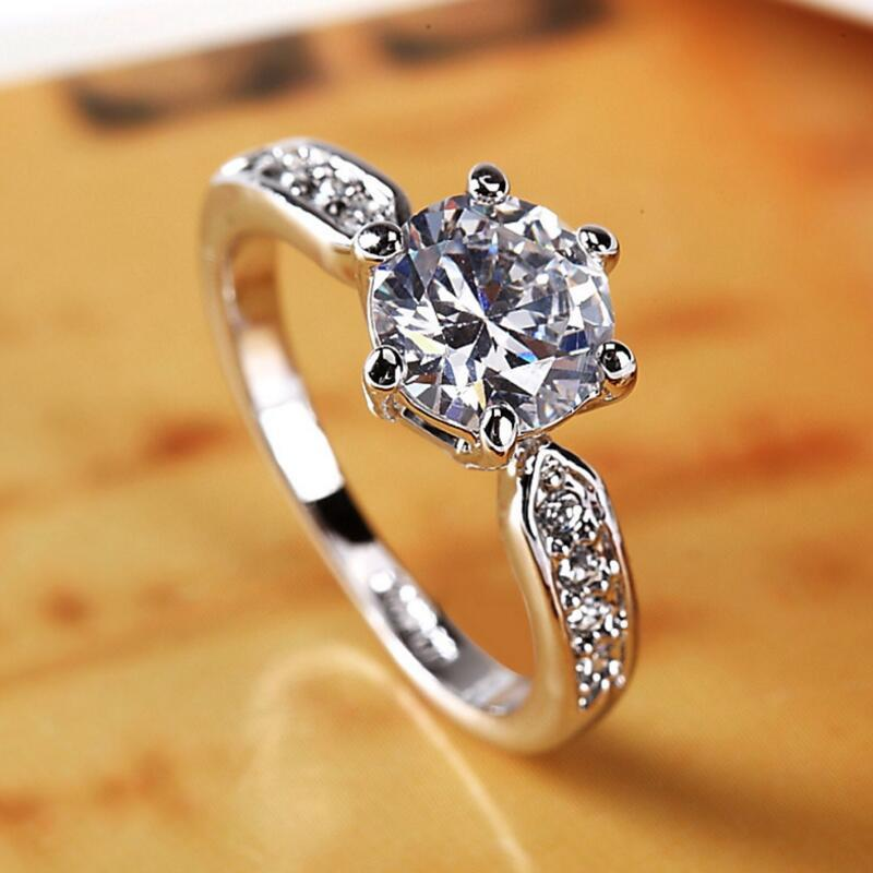 Wholesale Aaa Zircon Engagement Rings For Women Gold Color Wedding