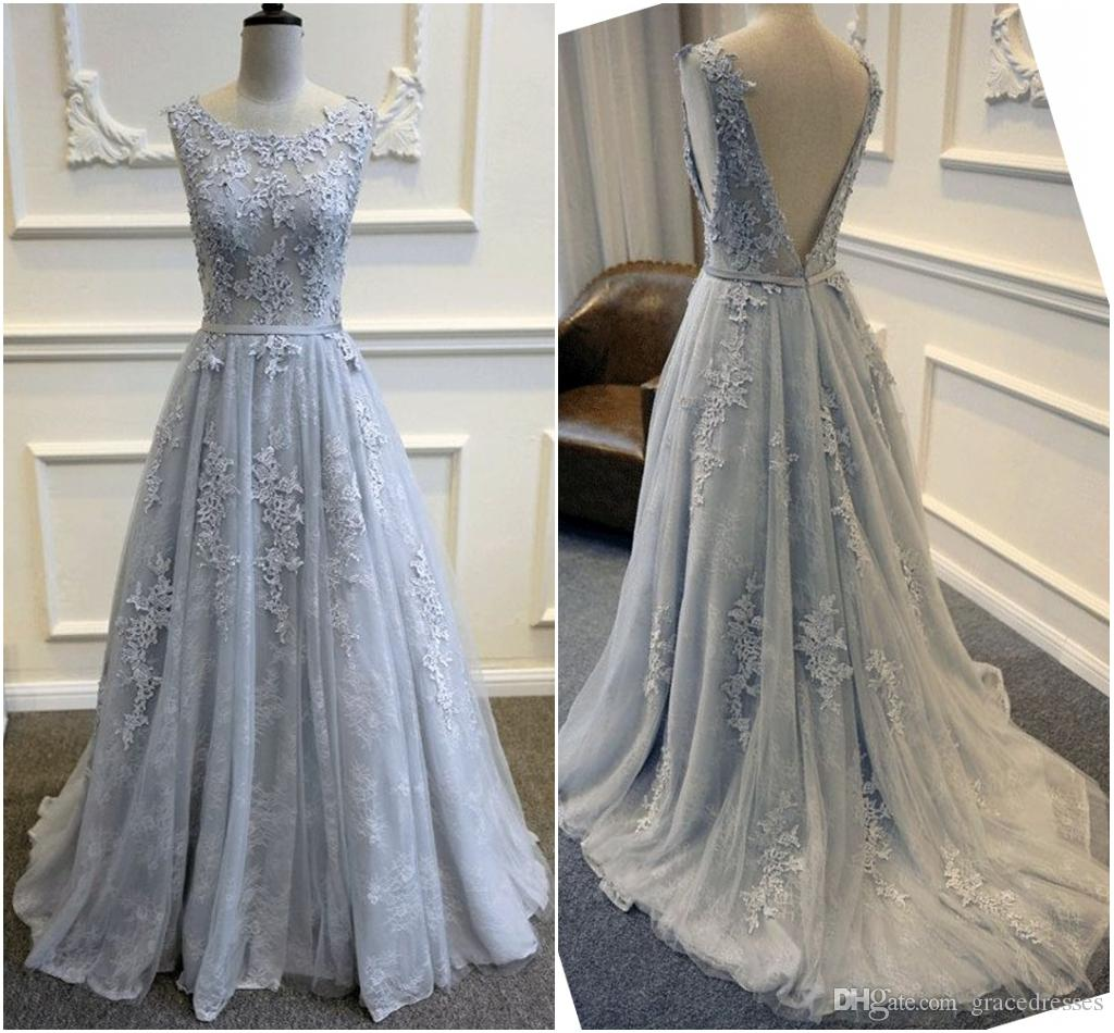 Backless blue lace wedding dresses a line scoop neckline for Blue dresses to wear to a wedding