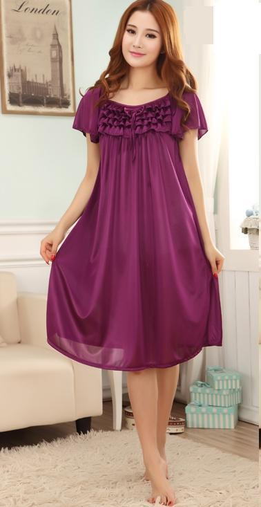 2019 Wholesale Women Summer Viscose Candy Color Sleepwear Female Nightgown  Plus Size Short Sleeve Lounge Ice Silk Home Wear From Rebecco d782f6b044ad