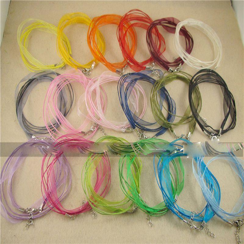 200 unids Venta caliente Cordón de cadena Mezcla Linda Colores Organza Voile Cinta Collares Colgantes Cadenas 3 + 1 18