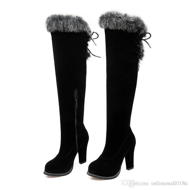 inverno caldo vendita nuovo arriva donne stivali nero gregge cerniera sopra il ginocchio stivali lace up stivali da donna super alta