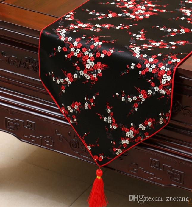 High Quality Cherry blossoms Luxury Table Runner Decorative Dining Table Mats Protection Pads Silk brocade Tea Table Cloth 200 * 33 cm