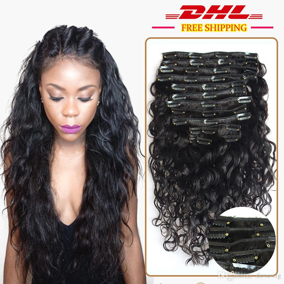 Water Wave Human Hair 120g Clip In Human Hair Extensions Wave