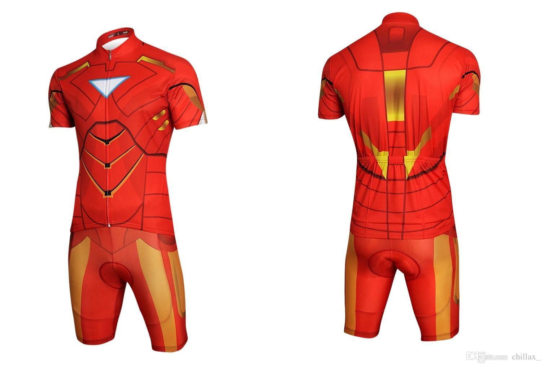 Venta al por mayor para hombre Ciclismo Jersey establece barato ropa de bicicleta de verano Batman Superman Iron Man Spider-man Capitán América ciclismo traje de bicicleta