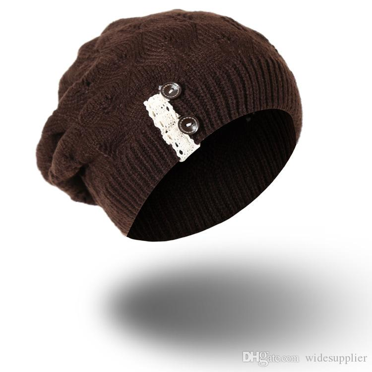 Korean version of the button knit hat creative style lace fashion trendy wool hat ladies autumn and winter wool hat