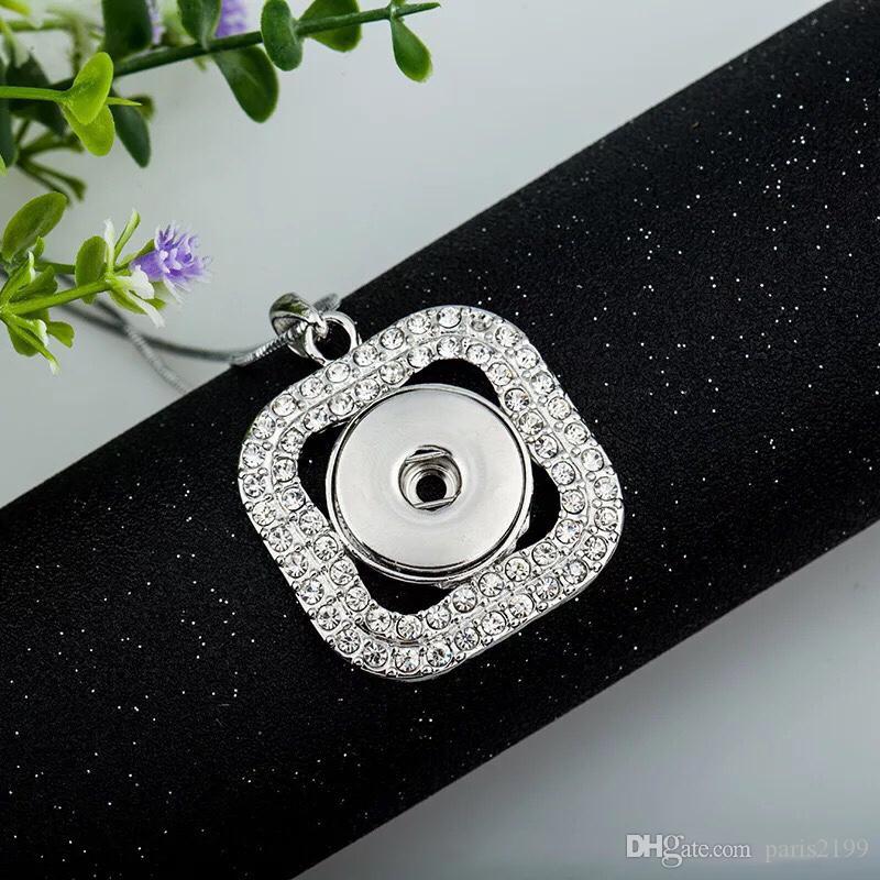 2018 새로운 패션 뜨거운 판매 크리스탈 스퀘어 쥬얼리 교환 할 수있는 20MM Noosa Chunk 진저 스냅인 단추 펜던트 목걸이 쥬얼리