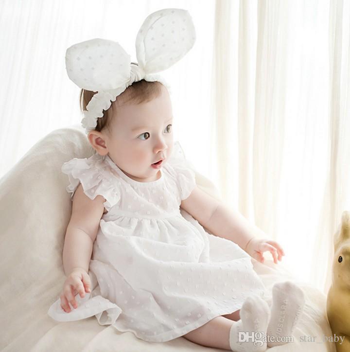2016 bebê criança menina linda grande orelhas de coelho bowknot algodão headband do bebê bonito headwear new born fotografia acessórios para o cabelo k7554