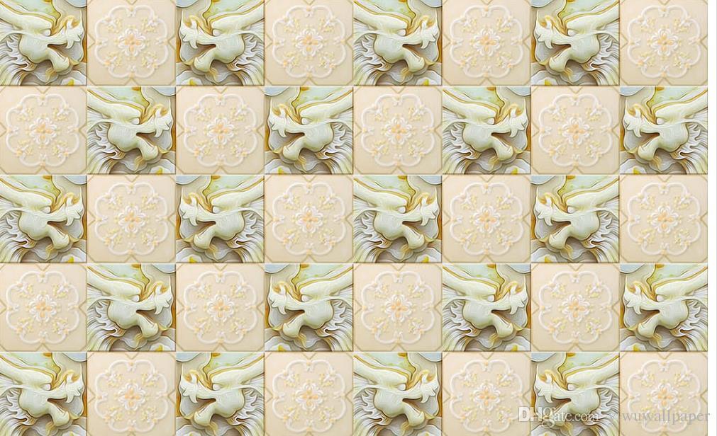 Tapeta 3D do pokoju Dostosowana tapeta na ściany Biały Marmur Jade Dragon Wzór Tło Nowoczesne Walniowe Tapety