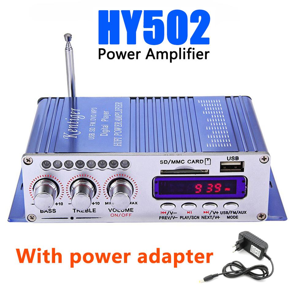 Hi-Fi HY502 Audio power amplifier USB MP3 DVD CD FM SD Digital Player for  Motorcycle Auto Stereo Power Amplifier With power adapter