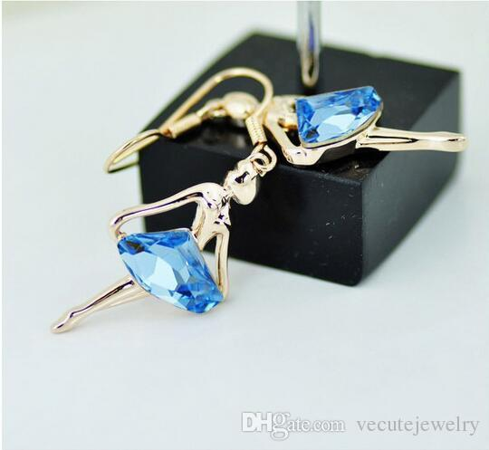 New Fashion 18K White Gold Plated Ballet Girl Sea Blue Crystal Necklace Earrings Jewelry Sets for Women Made With Swarovski Elements