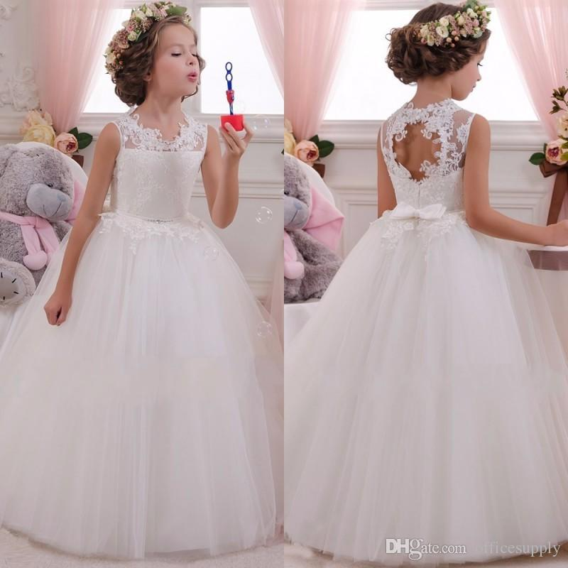 8a10fb9a10f7 Lovey Holy Lace Princess Flower Girl Dresses 2019 Ball Gown First Communion  Dresses For Girls Sleeveless Tulle Toddler Pageant Dresses Girls Boutique  ...