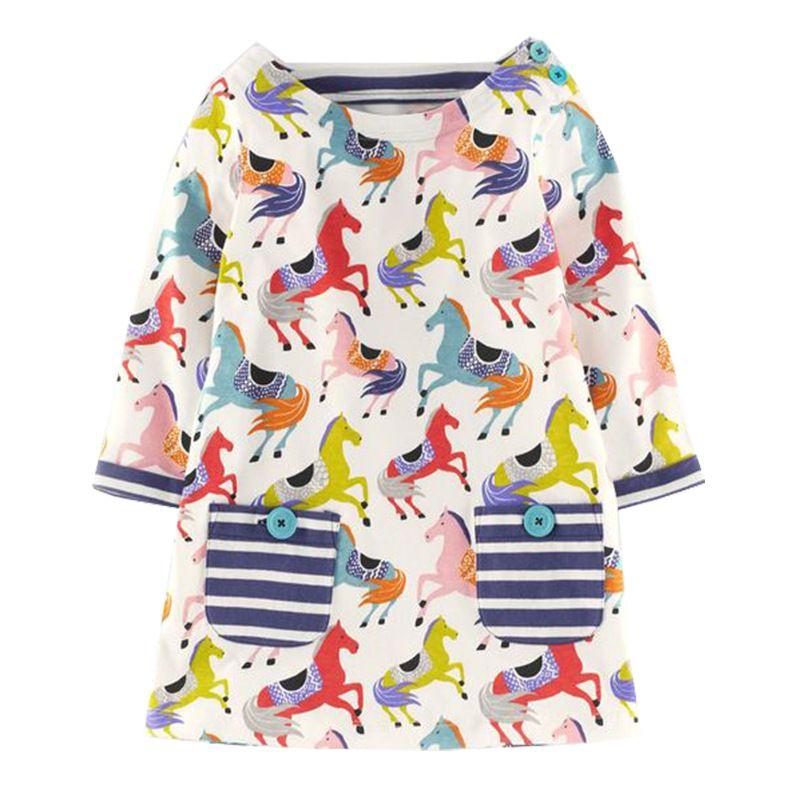 f758622ae97 Girl Cotton Dress 2017 European Style Brand New Girls Long Sleeved ...
