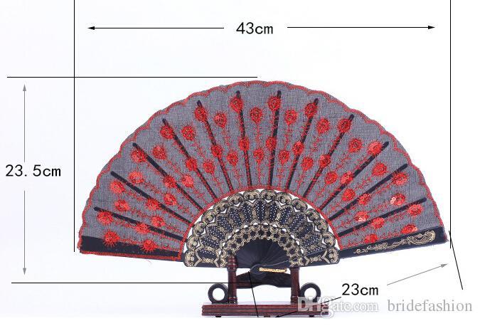 Peacock Handmade del ricamo del ventilatore piegante di seta superiore dei ventilatori da cerimonia nuziale Fan della damigella d'onore accessori di nozze della maniglia di bambù vuota Pieghi i fan