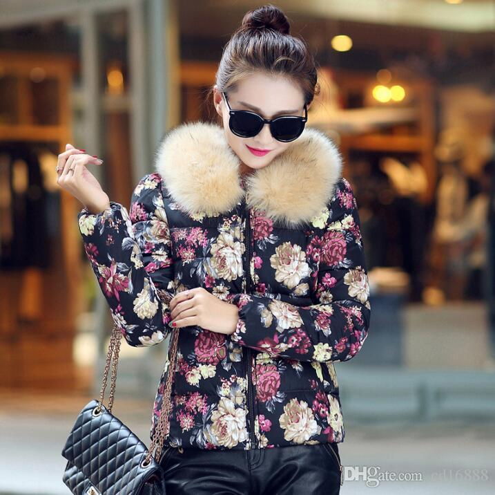a7e5d1fac6c3 2019 2016 Winter Women Clothing New Small Cotton Jacket Short Paragraph  Korean Printed Cotton Fur Collar Thick Jacket Fashion Wild Coat Women Clo  From ...