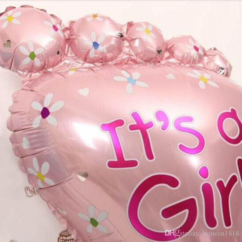 Pink Girl Blue Boy Feet Balloon Baby Cute Classic Toy Foil Balloons Birthday Party Decoration 79*46cm