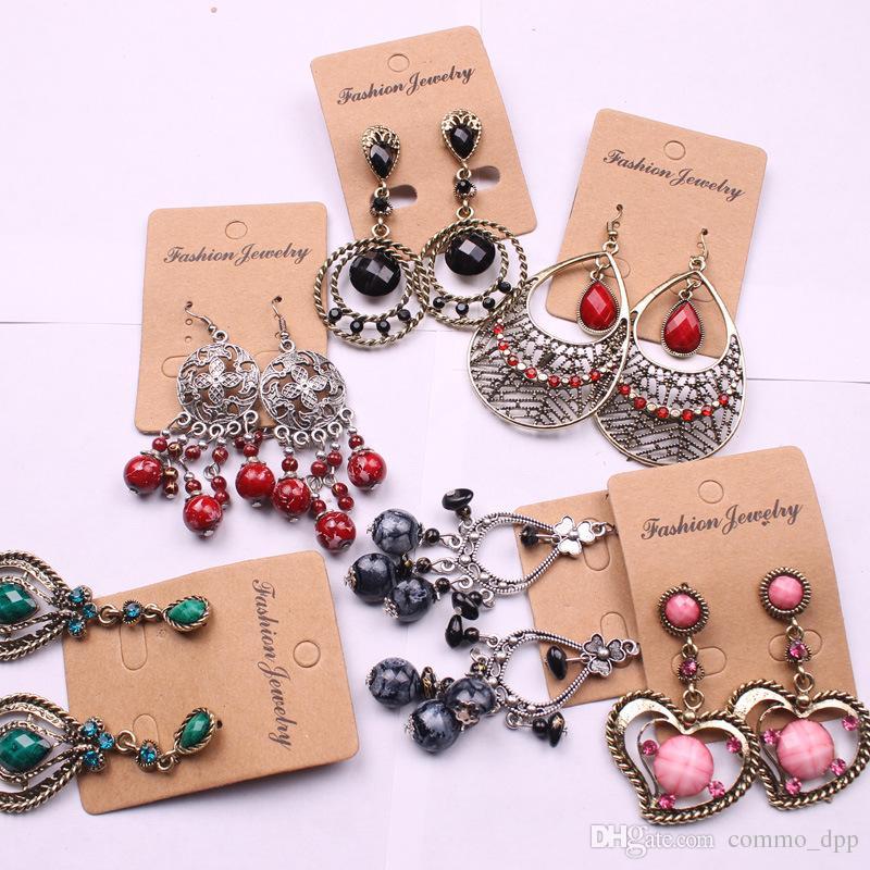 estilo étnico bohemio largo de la vendimia borlas pendientes para las mujeres damas de joyería de moda pendientes de la lámpara cuelga azar mezcla de estilos