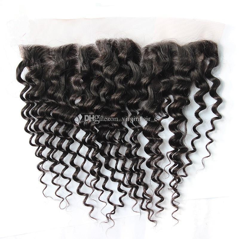 8A Indisches tiefes lockiges Haar mit Spitze Frontal Schließung viel Ohr zu Ohr Spitze Frontal mit Baby-Haar und Menschenhaar Bundles