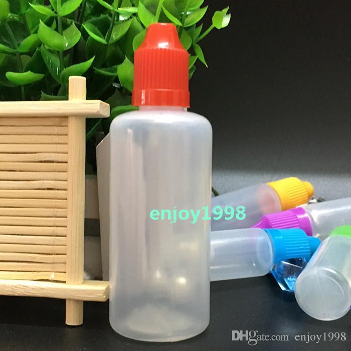 Botellas de plástico LDPE 60ML de agujas con tapón de seguridad a prueba de niños y la punta fina larga cuentagotas Para eJuice E-líquidos envío libre / Lote