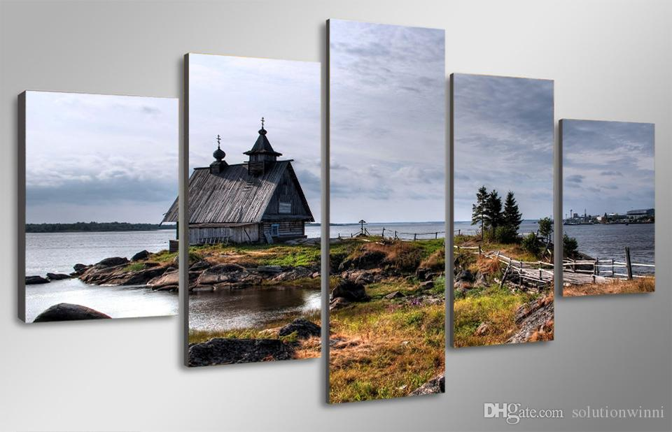 5 Panel HD Printed Old small house on river shore Painting Canvas Print room decor print poster picture canvas decorative squares