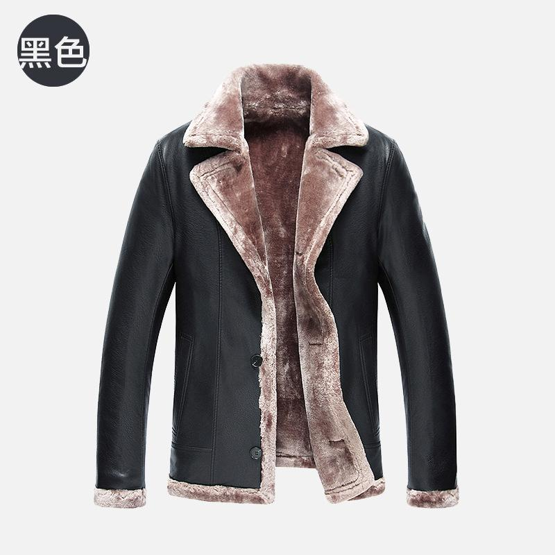 2017 new mens lapel fur business jackets Men's fashion high qulaity casual leather jacket thickening outerwear men winter coat