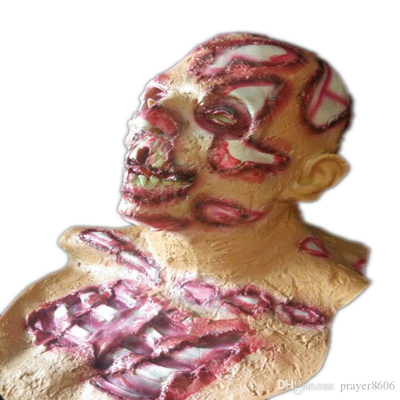 Scary Zombie Latex Mask Realistic Bloody Adult Head Halloween Costume Horror Masquerade Party Cosplay Props Full Face Masks Free Shipping