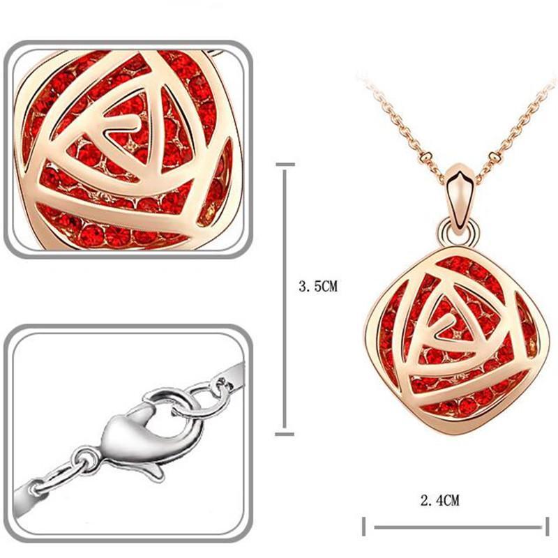 La collana di cristallo della collana delle donne degli accessori della catena della collana di alta qualità I monili di modo d'annata hanno placcato oro rosa Il trasporto libero 2649