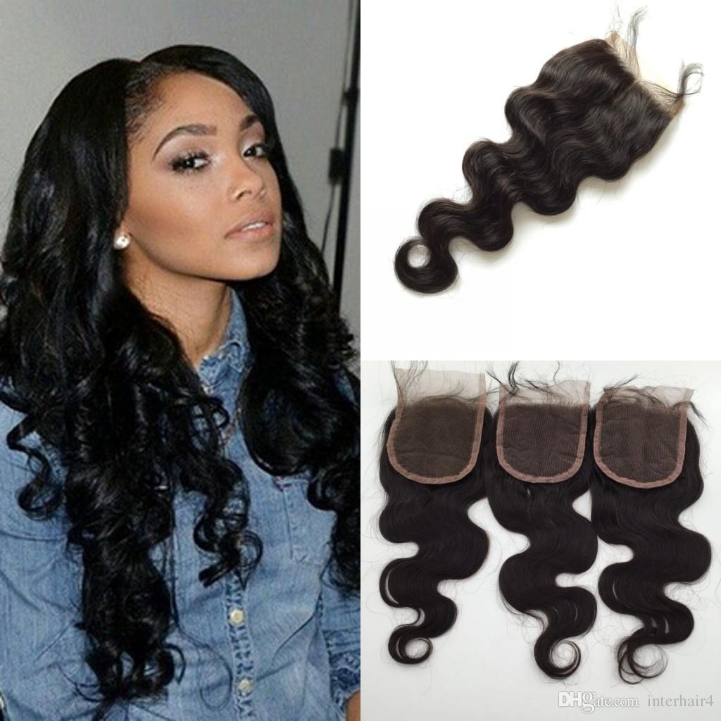 3 Way Part Lace Top Closure4x4 Hairpieces Brazilian Virgin Human