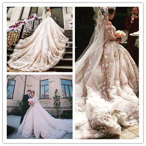 Discount 2017 Arabic Luxury Blush Lace Wedding Gowns Applique ...
