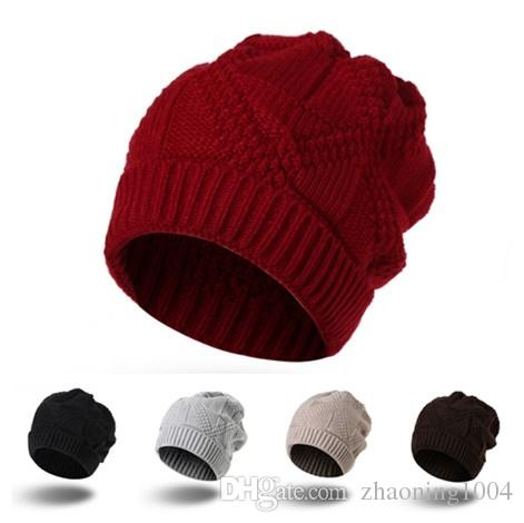 ee5f8002dac New Designer Acrylic Winter Classic Head Warmer Sport Skull Hat Rib Cable  Knitted Beanies For Adults Mens Womens Slouchy Yarn Thick Snow Cap Crochet  Beanie ...