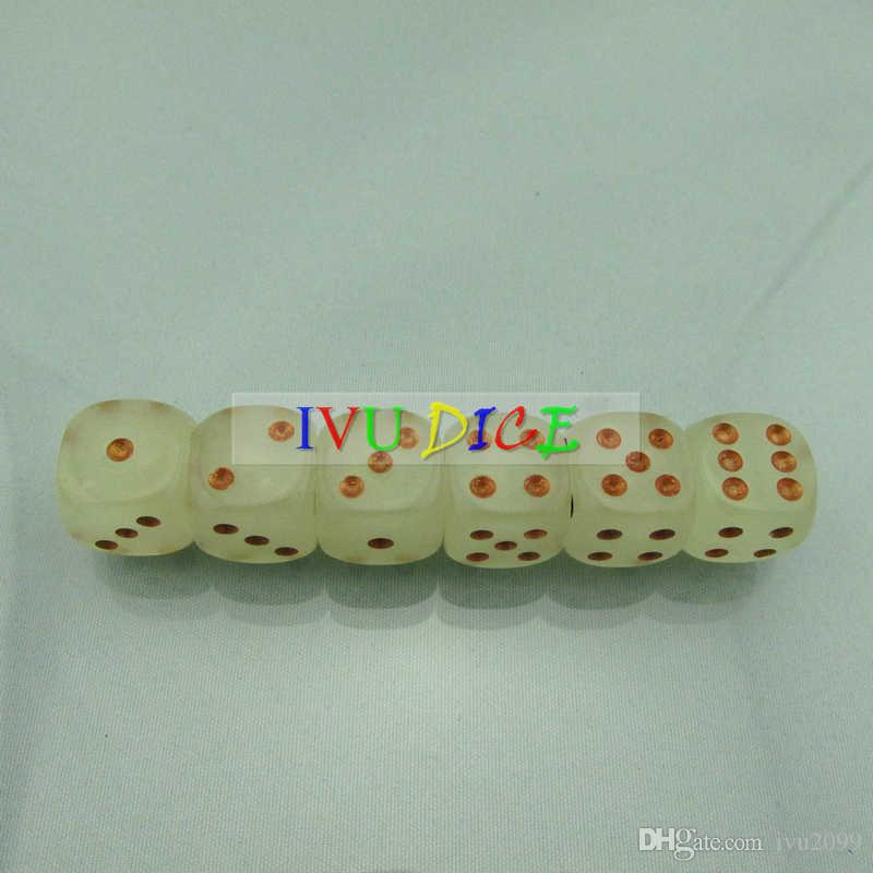 NEW 16MM dice Light Green Transparent Glow Golden point 1-6 automatic mahjong GAME party machine dices bosons IVU