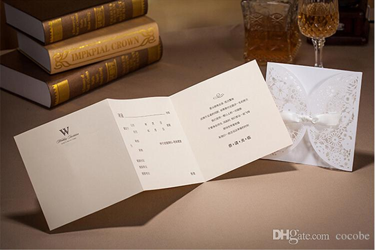 White Lace Laser Cut Wedding Invitations with Bowknot Ribbon Printable Party Birthday Cards Engagement Marriage Baby Shower Invites BH2065