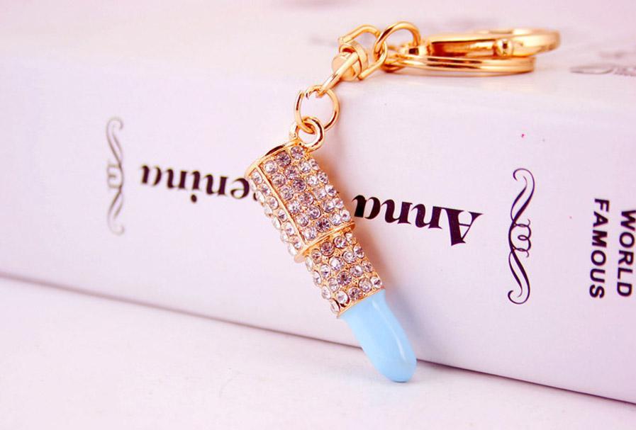 Lipstick Makeup Keyring Rhinestone Purse Bag Charm Pendant Keychain Christmas Gift for Girl Woman Lady