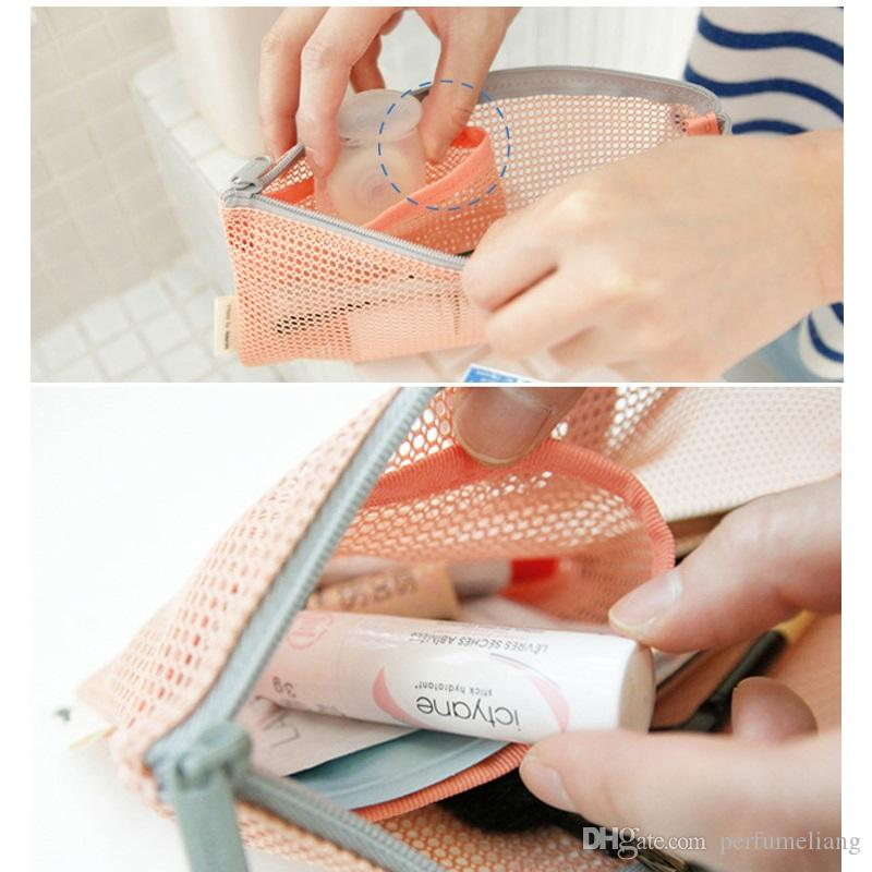 Travel Nylon Mesh Zipper Wallet Case Cosmetic Makeup Baby Mummy Bag Portable Storage Pouch Make Up Tool Organizer ZA0839