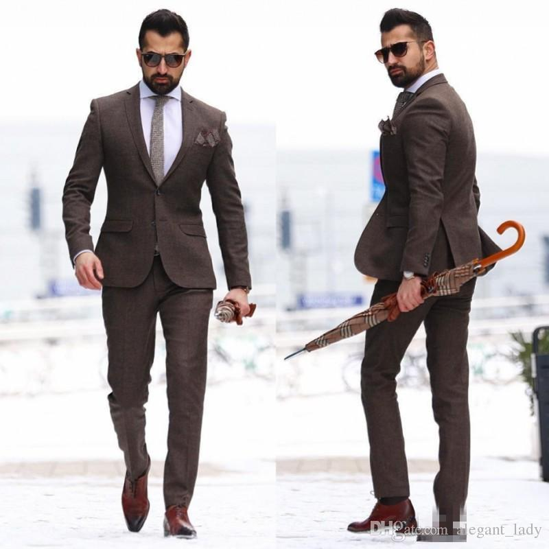 2018 Vintage Wood Two Pieces Mature Men Suits Plus Size Groom Wear ...