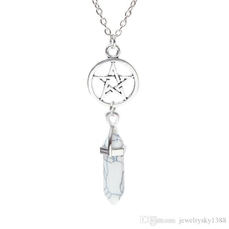 Pentacle Bullet Natural Stone Pendant Necklace Jewelry Hexagon Prism Star Point Healing Crystal Amethyst Rose Quartz Chakra necklaces Women