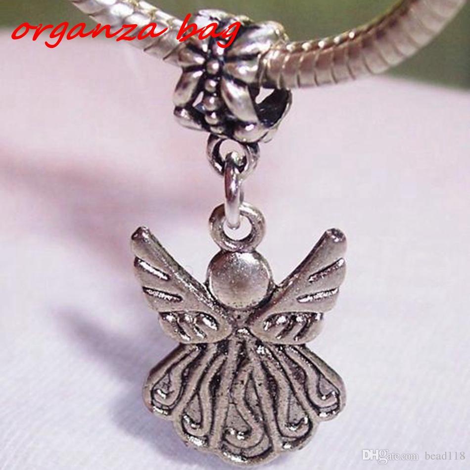 Mic Guardian Angel Charm Bead för Antik Silver Europeisk stil Charm Hängsmycke 34 x 15 mm DIY Smycken