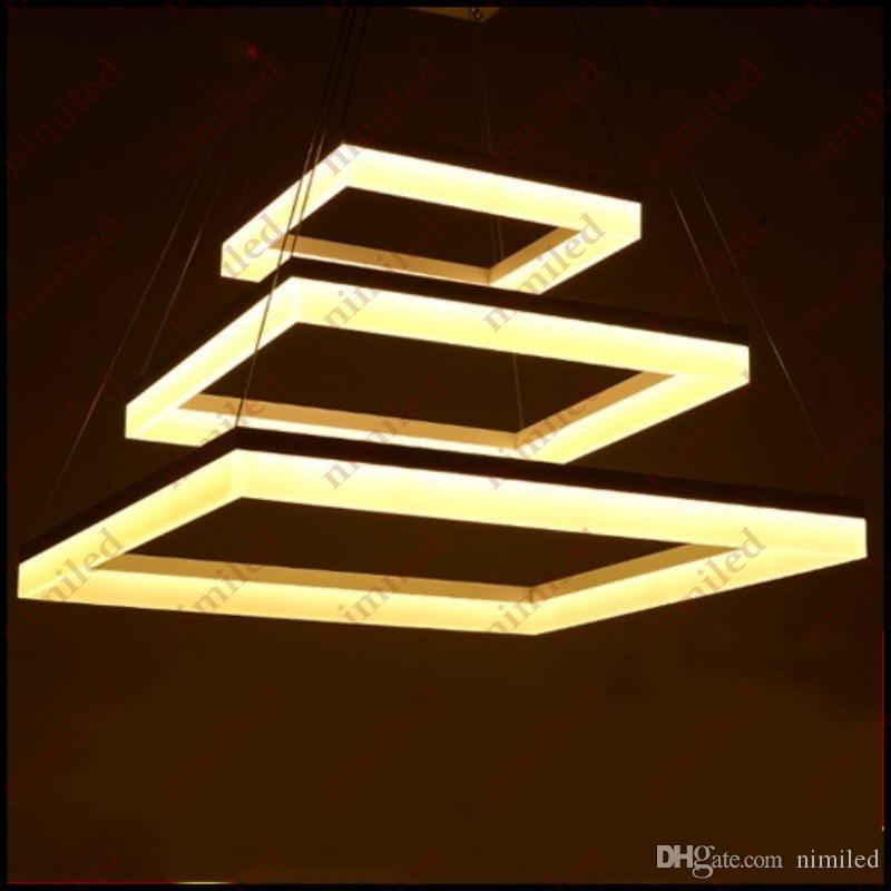 nimi702 2/3 couches superposées lustre moderne acrylique minimaliste carré salon salon lumières restaurant lampes suspendues éclairage de fil