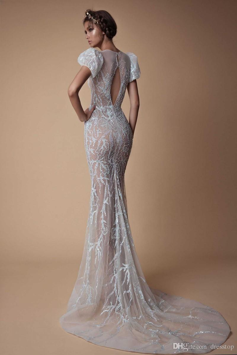 Berta 2019 Evening Dresses Jewel Neck Mermaid Prom Dress Long Sweep Train Hollow Back Crystal Party Gowns