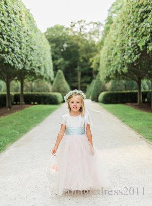 Garden Sweety Classic Flower Girls A Line Jewel Short Sleeve Floor Length Peplum Sashes Tulle Wedding Dresses For Girls