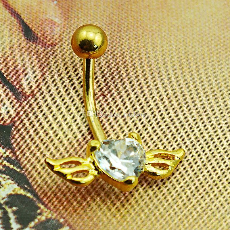 Moda placcato in oro ombelico anelli in acciaio 316L Barbell bianco cristallo cuore ala piercing all'ombelico gioielli
