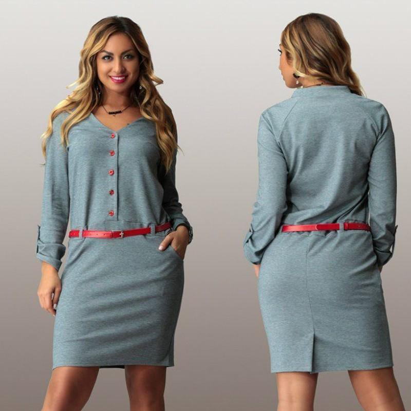 L 6xl Elegant Office Work Dress Nice Autumn V Neck Long Sleeve