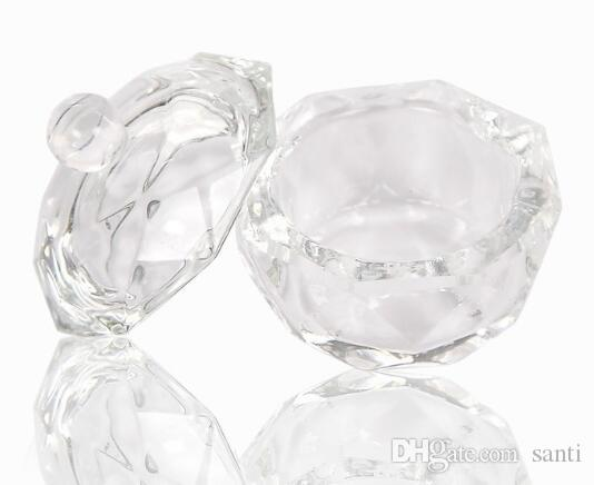 Copo De Vidro Acrílico Dappen Tigela de Vidro com Cap Líquido Glitter Em Pó Caviar Nail art ferramenta rodada