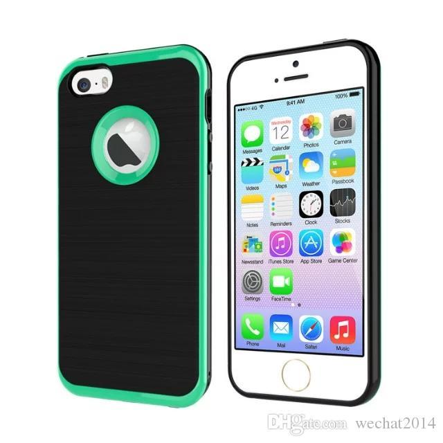 MOTOMO Coque 3 en 1 Coque arrière brossée double couche de protection pour iPhone 6 6s Plus 7 Plus Samsung Galaxy S6 Edge Plus Note 5 7 gratuite DHL