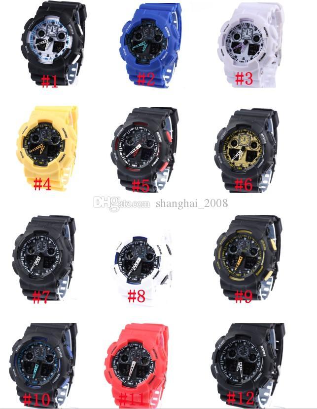 5 pçs / lote Eletrônica Esportes Relógios Homens À Prova D 'Água G100 Digital LED Mens Mulheres Relógio Mulheres Meninos Meninas Frete Grátis