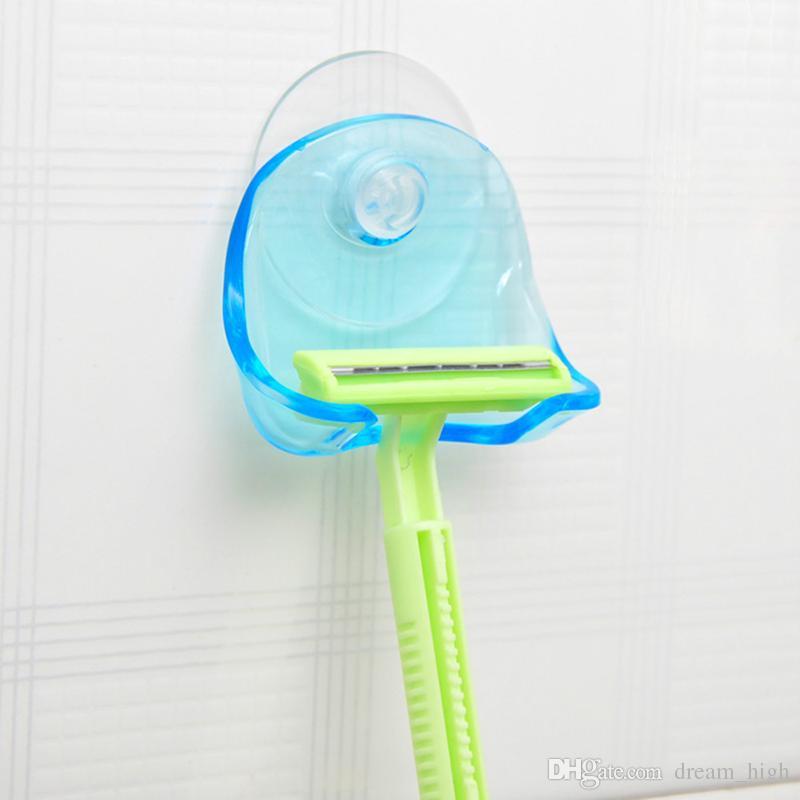 Бритва стойка супер присоски держатель бритвы бритвы для хранения стойки настенные крючки вешалки полотенце присоски аксессуары для ванной комнаты синий