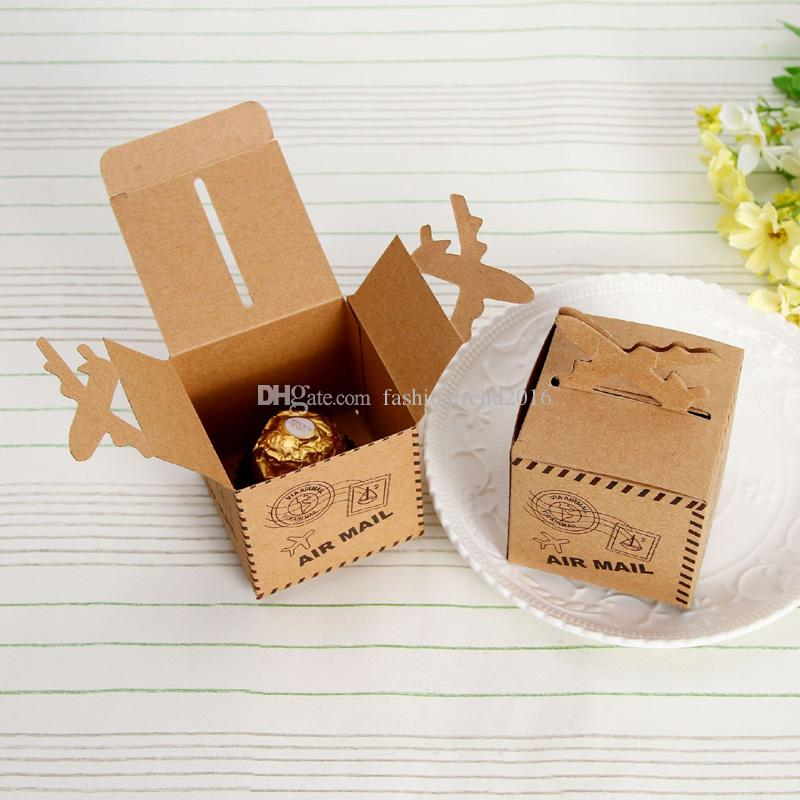 Kraft Paper Airplane Candy Box Wedding Travel Theme Decoration - Box paper airplane