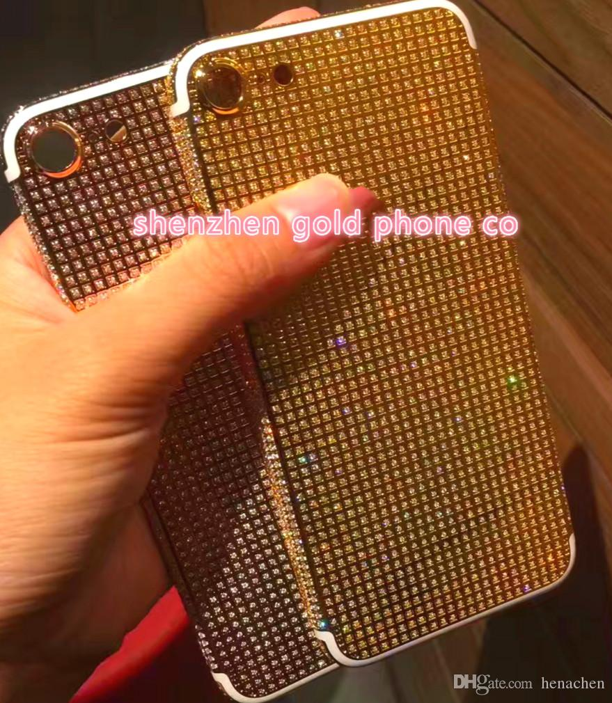 24K 24CT 24KT rose gold Full Diamond Crystals Mirror GOLD Full Diamond Crystals Back Cover Housing Middle Frame for iphone7 7 + phone back