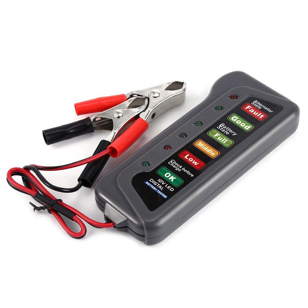 High quality 12v digital battery alternator tester with 6 led lights display car vehicle battery diagnostic tool best automotive diagnostic scanner best