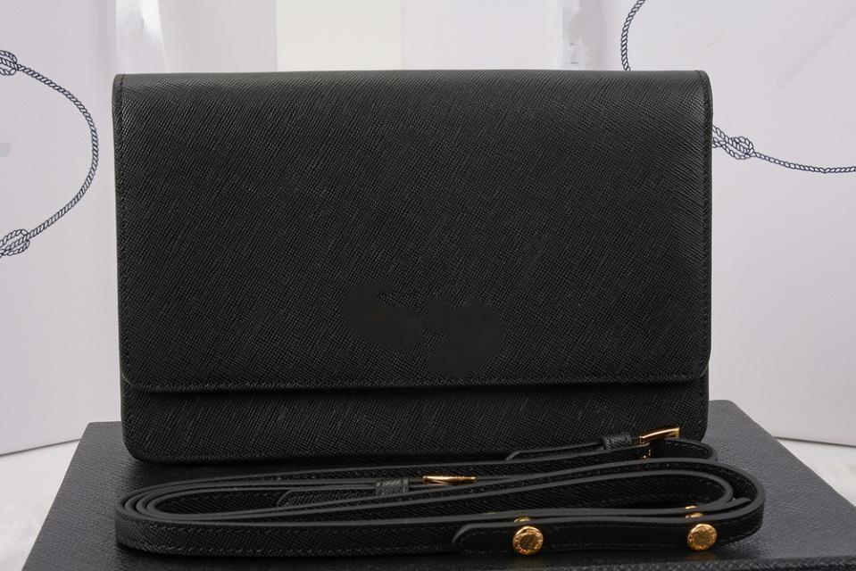 1361 black calfskin leather shoulder strap bag messanger bag