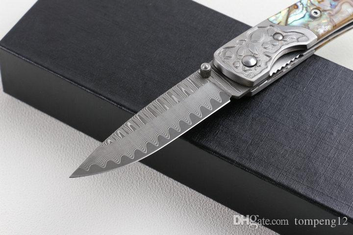 Damascus Abalone Collection knife wave pattern Special outdoor survival camping hunting knife wild gift